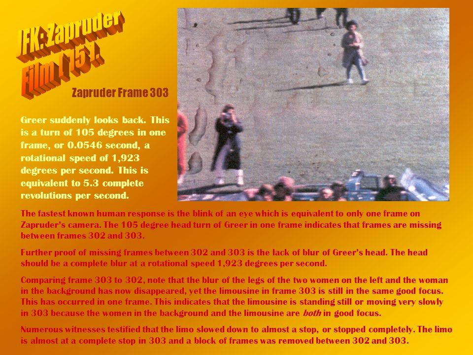 JFK: Zapruder Film [ 15 ]. Zapruder Frame 303